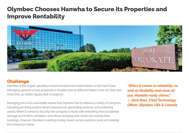 Olymbec Chooses Hanwha to Secure its Properties and Improve Rentability